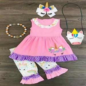 New arrival wholesale baby girl boutique unicorn clothes printed sleeveless summer clothing
