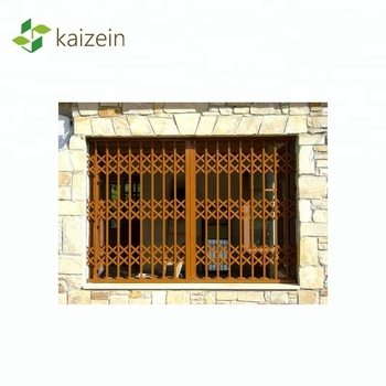 Metal grille sliding door steel burglar proof windows collapsible security grilles