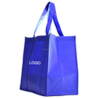 Blue Custom Reusable Non Woven PP shopping Bag,Large Strong Grocery Shopping Tote bag with Plastic Base and reinforced handles