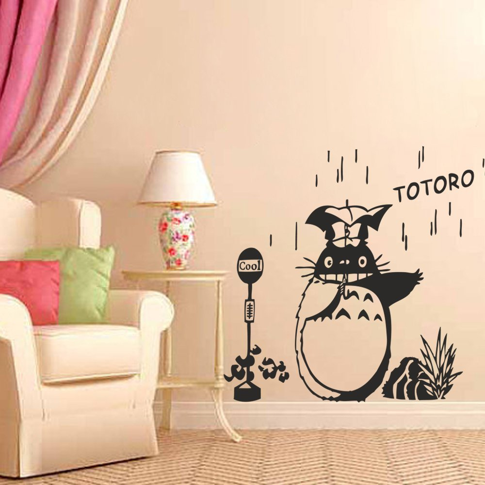 Get Quotations · BATTOO Totoro And Friends Vinyl Wall Art Decal Nursery Wall  Sticker Chibi Totoro Wall Decal(
