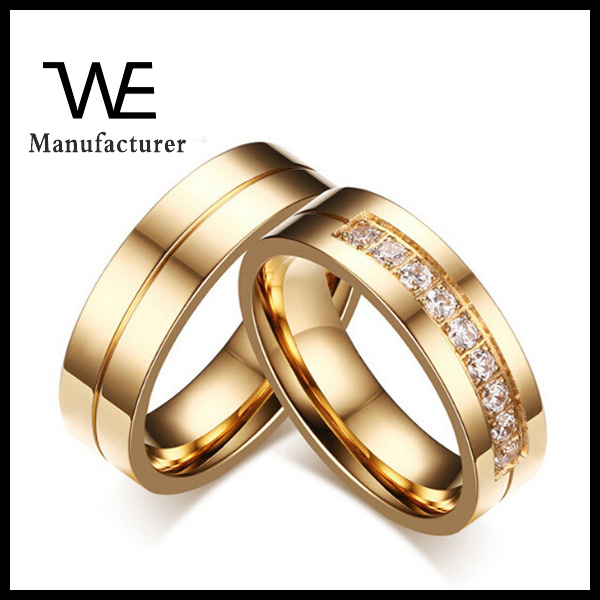 New 18k Gold Rings Design 2016 Stainless Steel Couple Wedding
