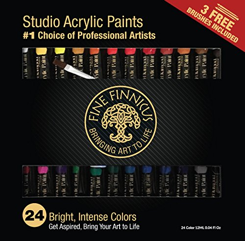 Artist Paint Set with 24 (12ml) Colors and 3 Free Brushes. This Fine Finnicus Paint Set is The Perfect Artist's Tool for Students, hobbyist, and Great for Kids!