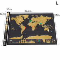 Scratch Off World Tracker Map with Tube Packaging Black Map Scratch Off World Map
