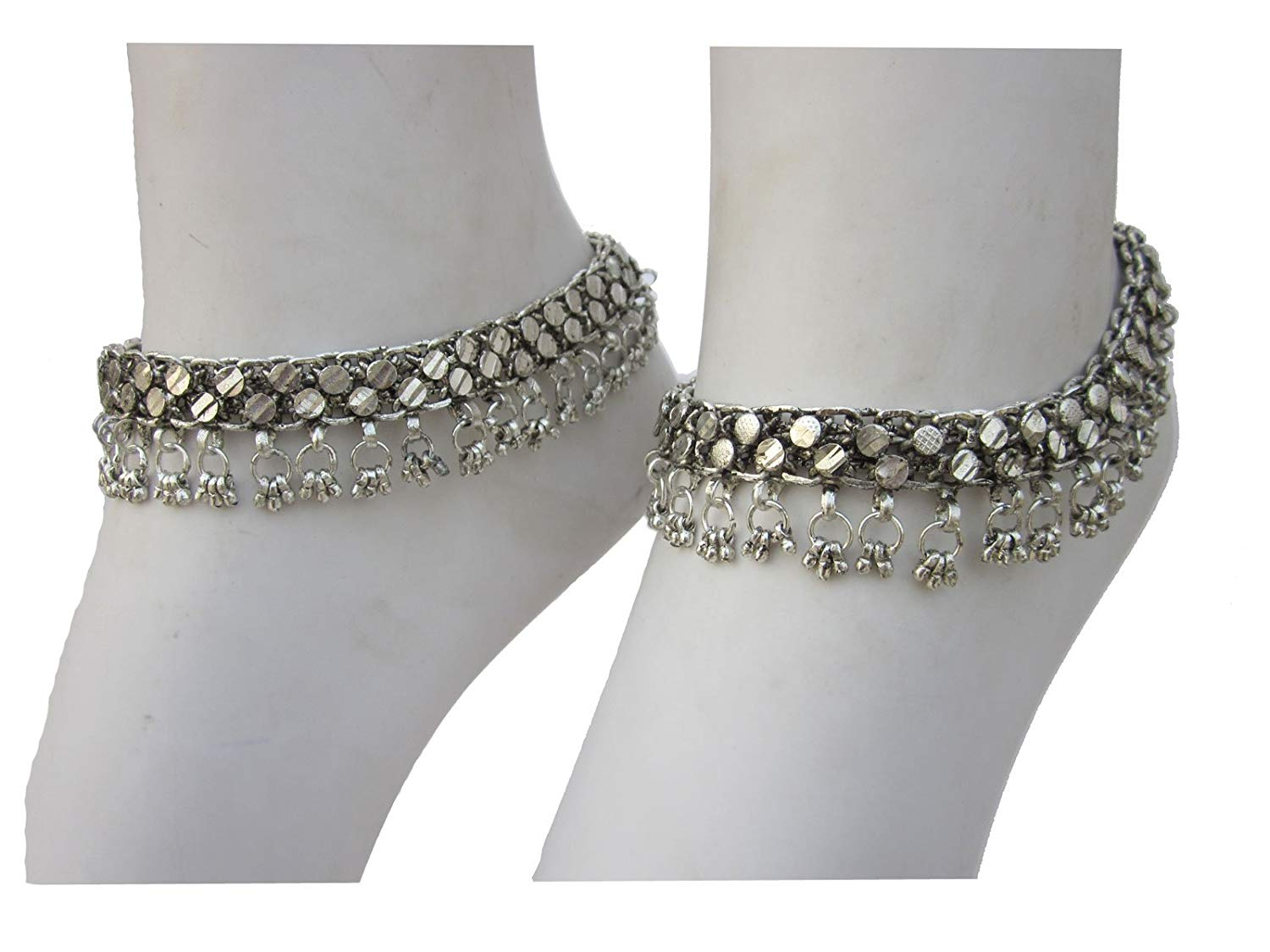 Chain Anklet Bracelet | Ankle Feet Fashion Jewelry | Boho Barefoot Sandals | Gypsy Boheminan Festival Vintage Retro Tribal Style Novelty Accessory | Indian Payal Handcrafted Plated Silver Oxidized