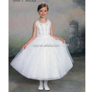Jurk Kind Bruiloft.2015 Hoge Kwaliteit Witte Prinses Lange Jurken Voor Kinderen Lange