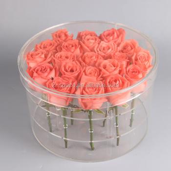 Valentinstag Kristall 21 Rosen Box Hochzeit Runde Acryl 21 Blumen