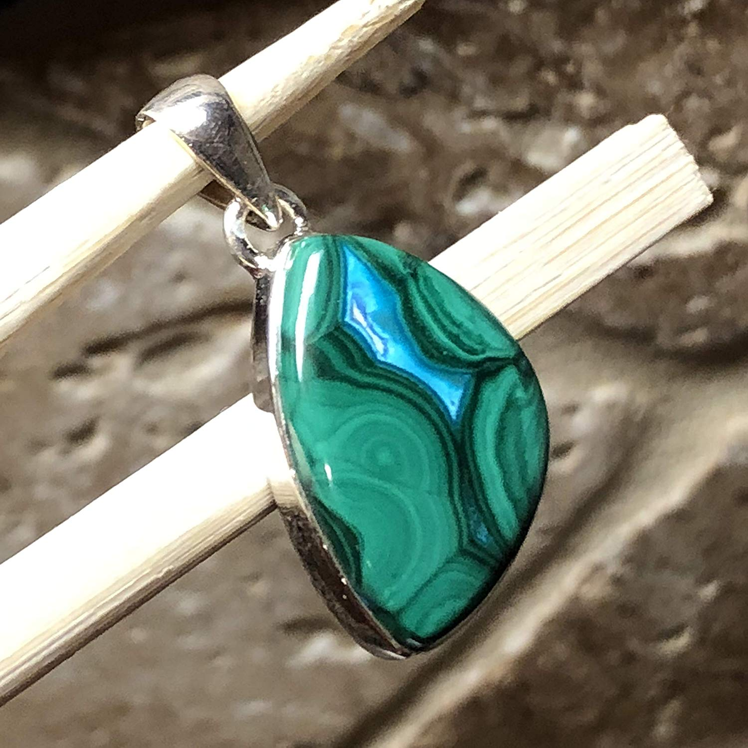 Natural Malachite in Chrysocolla 925 Solid Sterling Silver Solitaire Pendant 35mm Long