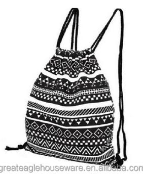 Cotton Canvas Gym Bag Large Drawstring Backpack Sackpack Stroge ...