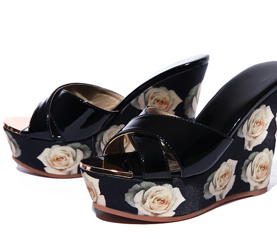f82c5fcc5be Best Selling European Genuine Leather Super High Heel Wedge Slippers Women  Floral Wedge Pumps Summer Shoes