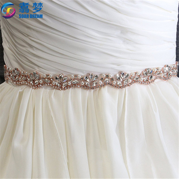 36x17.7 inches Rose gold Wedding Taille Ondersteuning custom strass riem kristal riem bruids taille riem