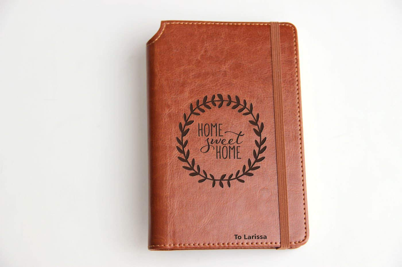 Customizable laser engraved Home Sweet Home Journal Customizable engraved Journal leather bound, strip with the same color to keep it closed