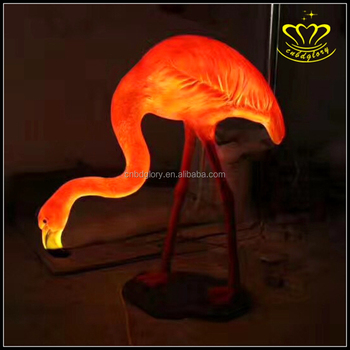Customized animal motif 3d LED light flamingo sculptures for garden decoration