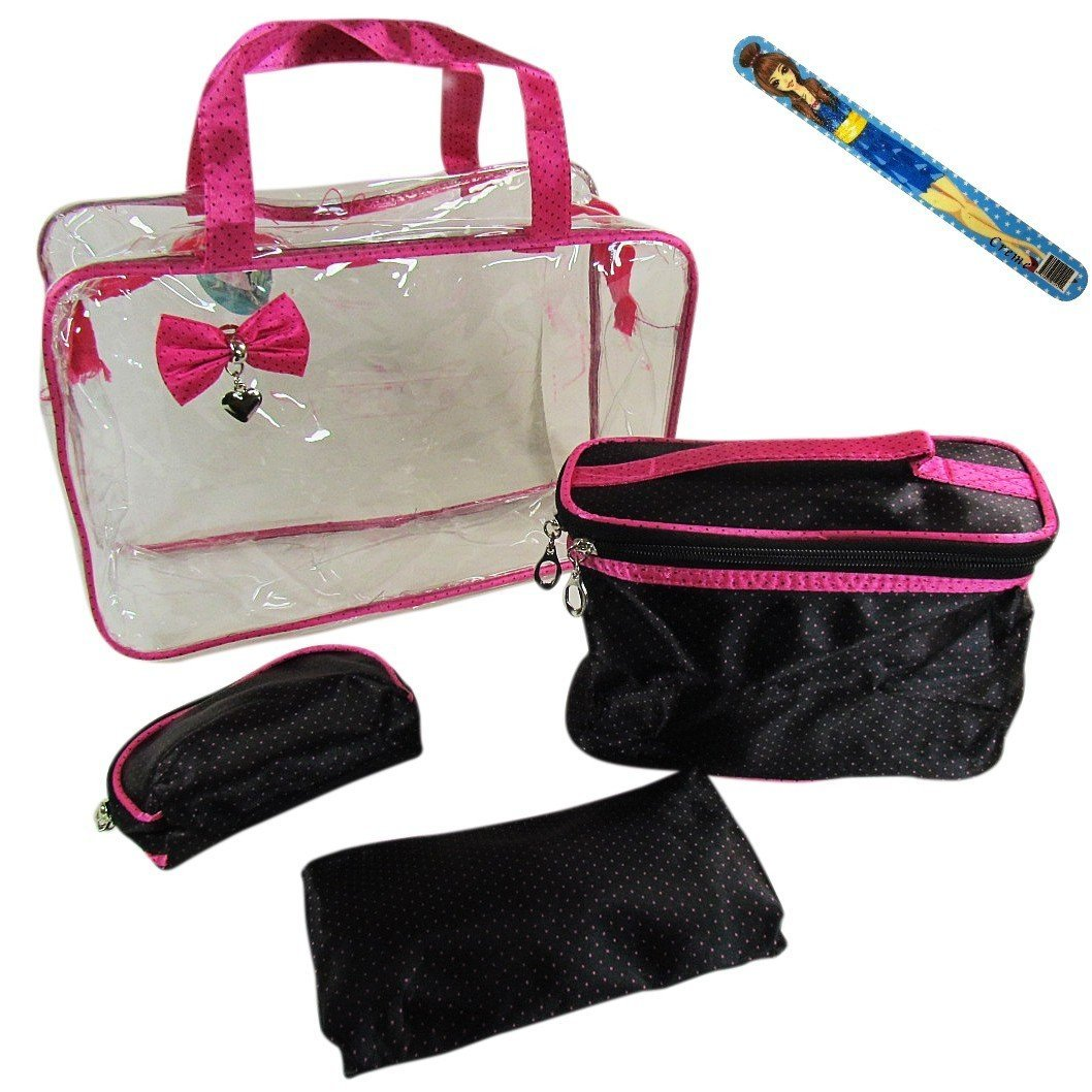"""4-piece Cosmetic Travel Make-up Bag Set AND 9"""" Fashion Nail File: Large See-through Purse with Handles (12""""x9""""x4""""), Oval Toiletry Bag with Handle (8.5""""x4""""x5""""), Medium Make-up Case (6.5""""x5""""x1""""), Small Cosmetics Pouch (4""""x5""""x1"""") -Small Pink Dots on Black"""