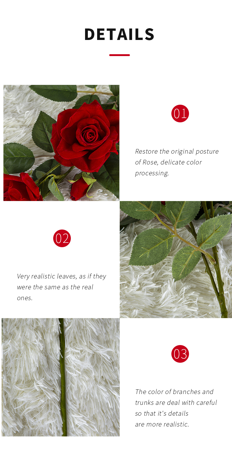 E-commerce exclusive high quality silk red artificial flower roses bouquet Petal thickening In stock