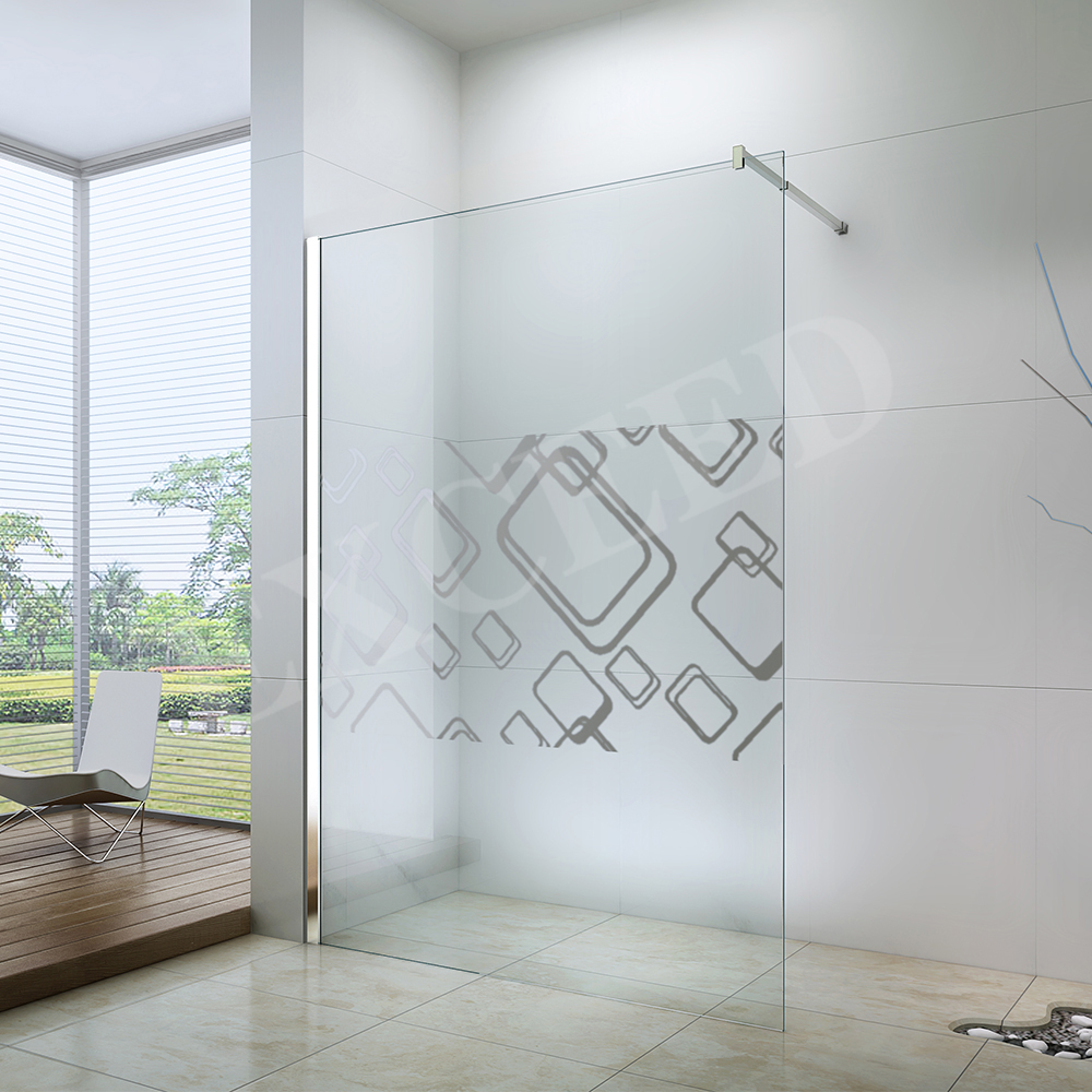 Custom screen printed 8mm tempered glass bathroom walk in shower enclosure