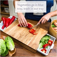 useful kitchen fruit vegetable acacia Wood Bamboo Cutting Board Chopping Block With Plastic Drawer Trays Containers White