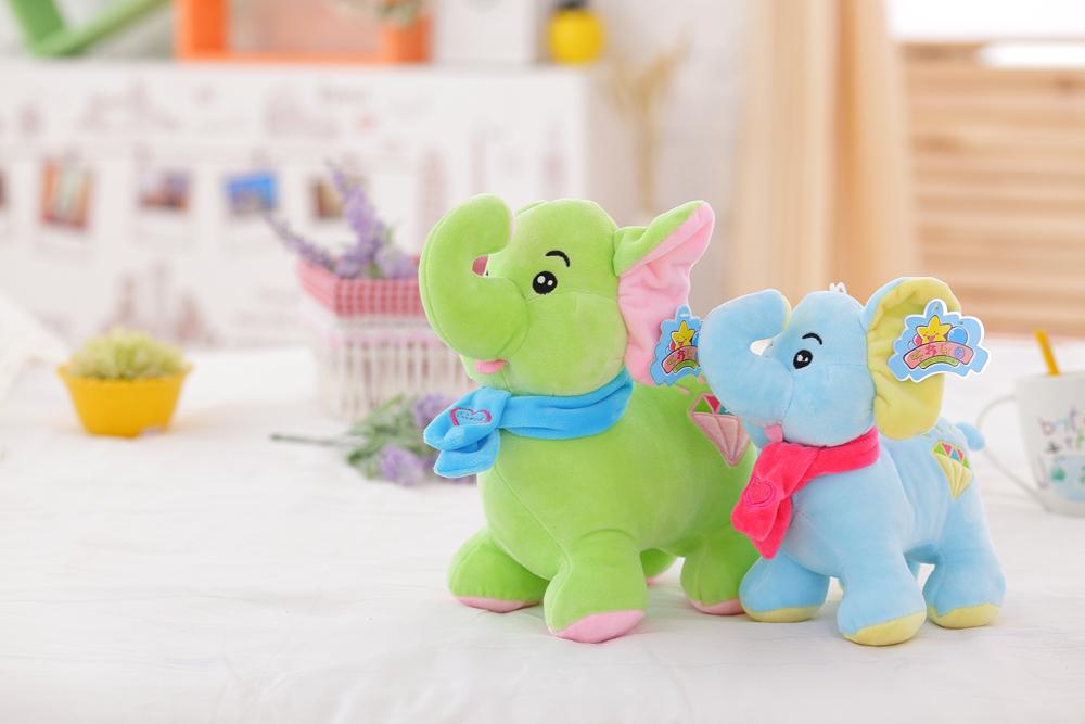 22/28cm Custom Cute Stuffed Plush Elephant Toy Cheap Fashion Big Eyes Plush Valentine  Elephant