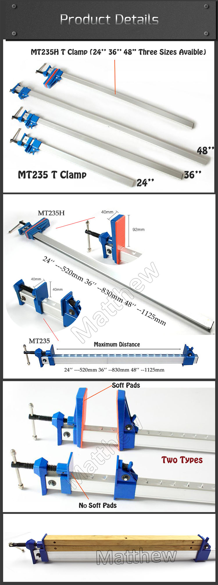 Quick Release Aluminum Sash Clamp For Woodworking