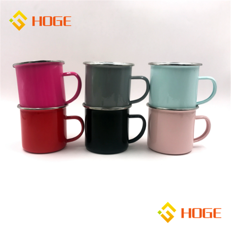 High Quality Porcelain Outdoor Campfire Mugs Carbon Steel Enamel Metal Tea Cups Solid Enamelware Coffee Mugs For Camping