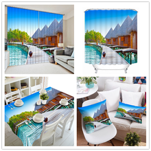 Luxurious Fashion 3D 100% Polyester Ready Made Sheer Pillow Case Table Cover , Shower Bath Curtain , Window Curtain With Resort