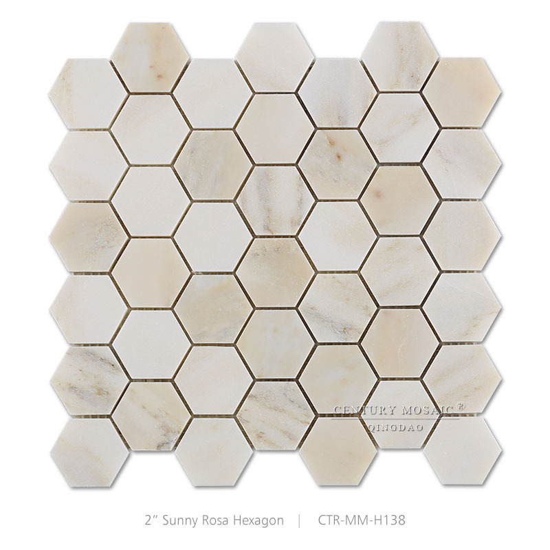 "2"" Sunny Rosa Marble Red Polished Colored Hexagon Mosaic Tile"