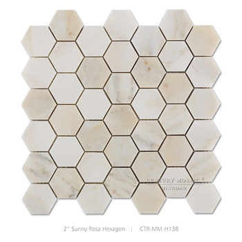 2 Sunny Rosa Marmor Rot Poliert Farbigen Hexagon Mosaik Fliesen
