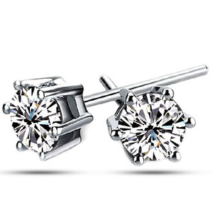 925 sterling silver white cz prong setting stud earrings for women