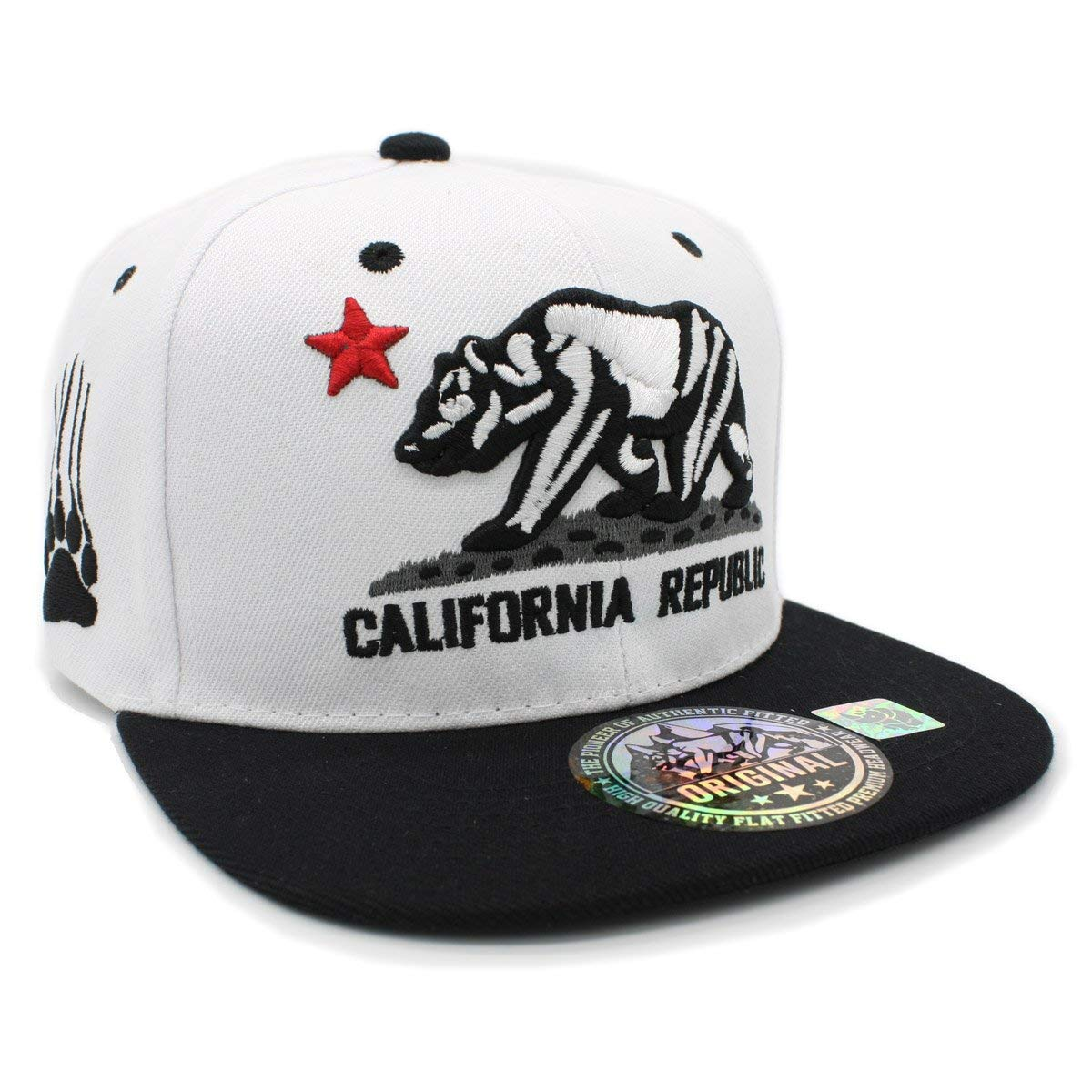 8403acafe0b38 Get Quotations · LAFSQ Embroidered California Republic Bear Claw Scratch Snapback  Cap