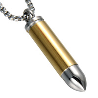 Fashion Personality Hip Hop Gold Plating Titanium Steel Bullet Necklace Pendant Jewelry