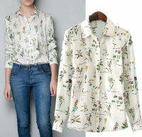 Alibaba China ladies t shirts chiffon fashion western woman floral blouse