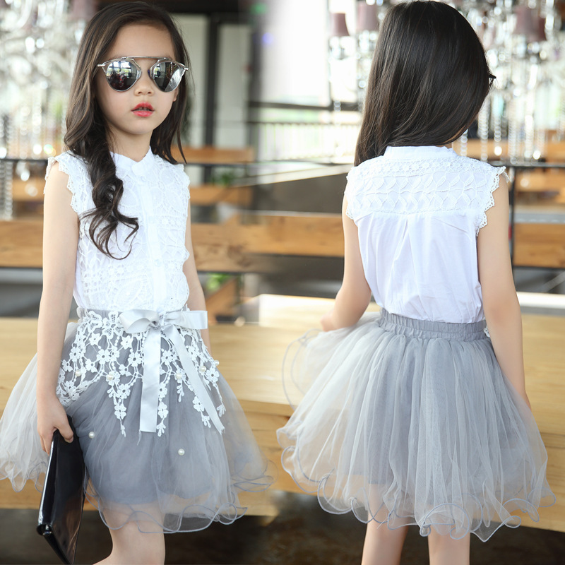 Girls Clothing Sets Summer Cotton Lace T-Shirts+Floral Tutu Skirt 2Pcs Suits Girls Clothes Sets Fashion Princess Kids Outfits