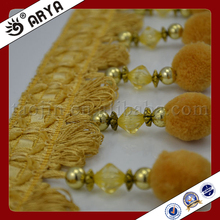 2017 Stock Pom Pom Fringe Curtain Accessories Gold Tassel Fringe For Home Decor China Supplier