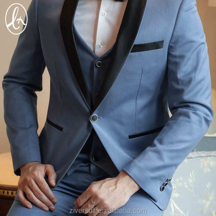 In stock wholesale new wedding 3 pieces blue mens suit