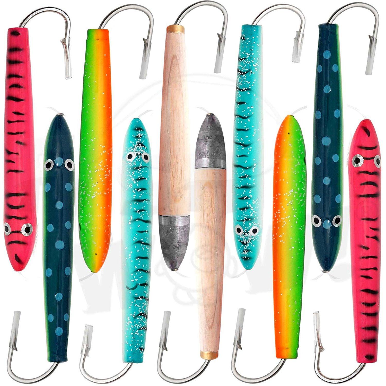 Red White Fish WOW 6 Fishing Cedar Plugs Rigged Tuna Mahi Trolling Wood Lure