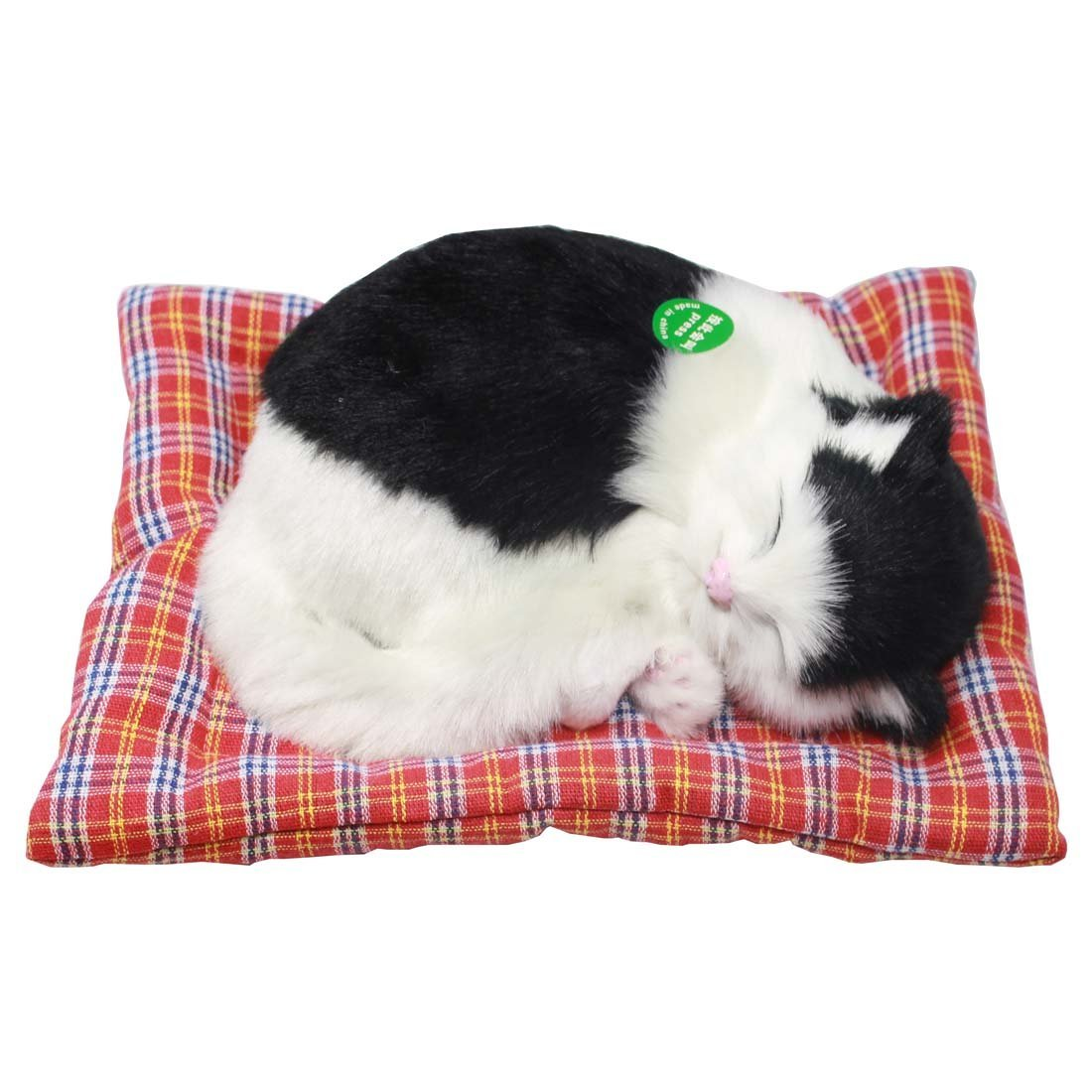 "Sleeping Cat Meow Kitten Pet Toy with Mat 7.6"" (Black & White)"