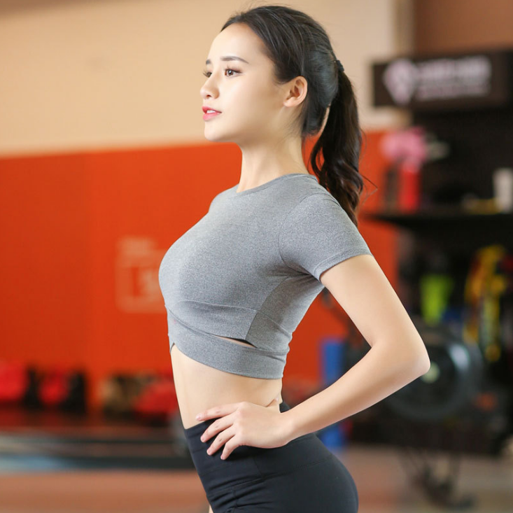 Wholesale oem women's tight waist stretch fitness short sleeved dance sweater gym yoga tank top fitness