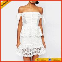 Guangzhou clothing factory oem women white lace dress