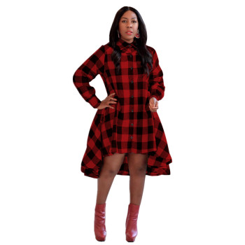 M5130 Autumn Style Women Clothing Plus Size Grids Printed Casual Dresses