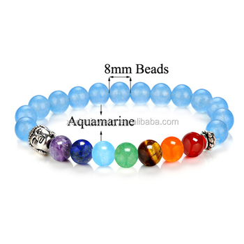 Aquamarine Semi Precious Stone Elastic Bracelet 8mm Multi Colored Natural Stretch With