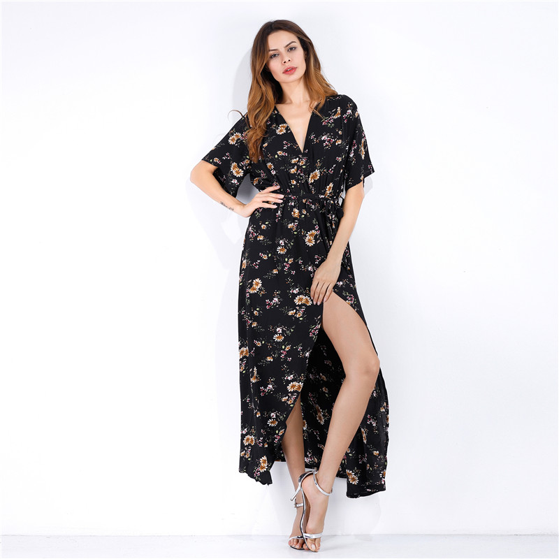 Summer Beach Style Woman Flower Print Chiffon Long Shirt Dresses Deep V Neck Women Casual Lapel Maxi Dress