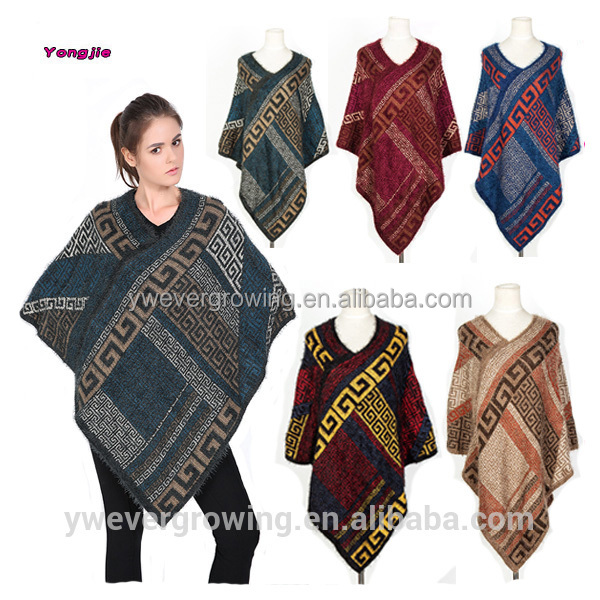 New Fashion Women Winter Thick Warm Ethnic Geometric Pullovers Cape Shawl Poncho Scarf