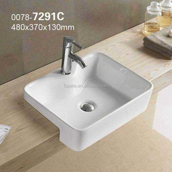 7291c Hotel Bathroom Vanity Sink Ceramic Semi Recessed Wash Basin Counter Foshan