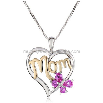 Sterling silver and 14k gold created pink sapphire with diamond sterling silver and 14k gold created pink sapphire with diamond accent butterfly mom heart pendant necklace mozeypictures Images