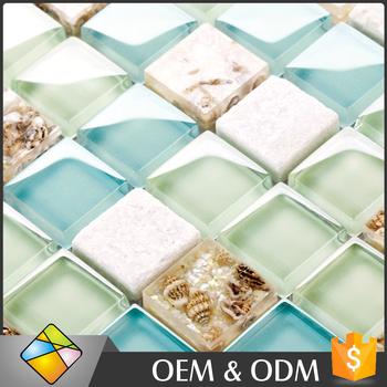 Mosaic Seashell Gl Blue Color Crystal Mix Tile For Kitchen Backsplash