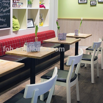 Leisure Restaurant Long Bench Sofa And Wooden Dining Table With White Wood Cafe Chair Foh Rst35