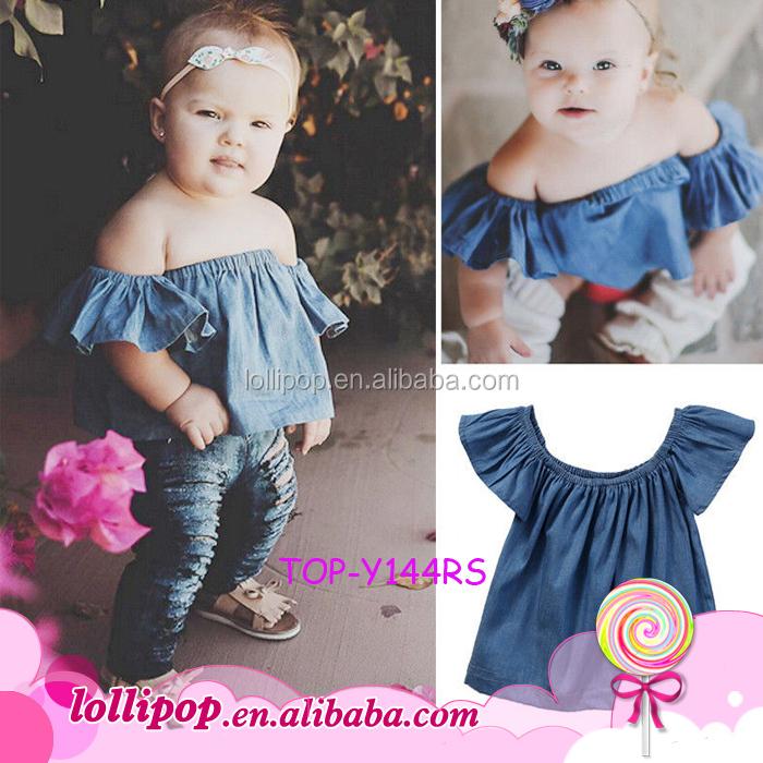 ce1a7261b Summer Pullover Falbala Baby Girls Toddler Off The Shoulder Crop Top  Peasant Top Flutter Sleeve Kids