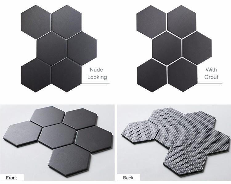 carrelage mosaique noire hexagonale de 4 pouces corps entier en nid d abeille en ceramique pour decoration murale et de sol buy mosaique en