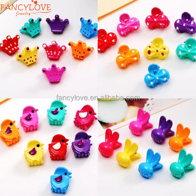Fancylove Jewelry candy color lovely animal fancy baby small plastic jaw clips hair clips for kids
