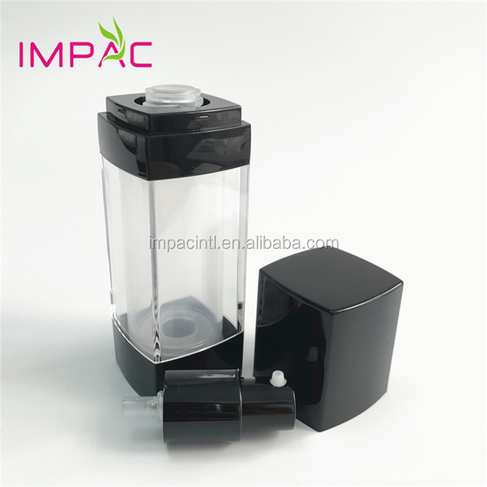 High-end square shape plastic clear 30ml airless foundation bottle