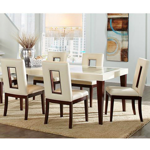 High Quality Indoor Dining Set White Leather Chairs With Table Dining Set